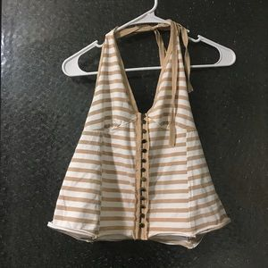 Free People Striped Halter Top